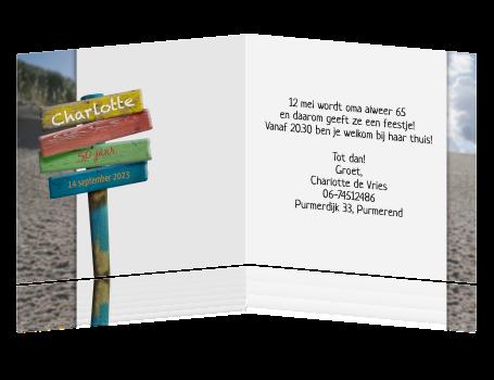 Bekend Uitnodiging 50 jaar - met wegwijzer #KX62