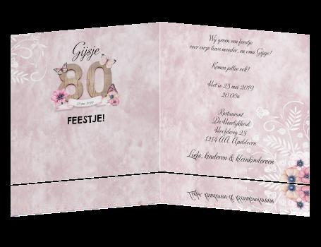 Uitnodiging 80 Jaar Met Bloemen En Vlinders