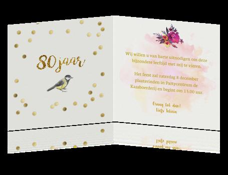 Favoriete Uitnodiging 80 jaar verjaardag met bloemen en vogels &HM26