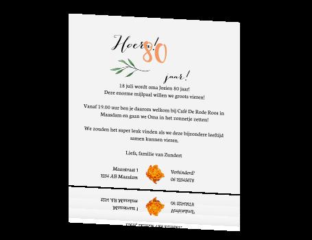 Ongekend Uitnodiging 80 jaar jaar met oranje en witte rozen RJ-66