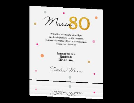 Uitnodiging Tachtigste Verjaardag Met Confetti En Glitter