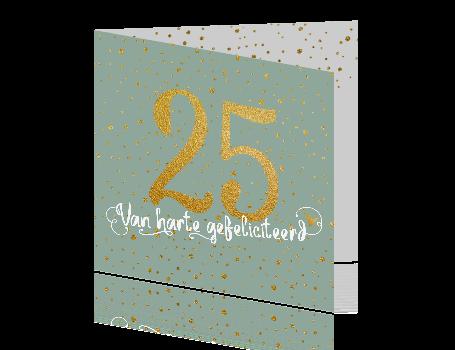 Wonderlijk Verjaardagskaart 25 jaar met goud look TZ-15