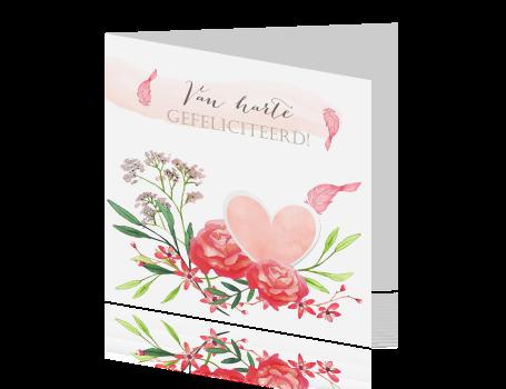 mooie aquarel bloemenkaart voor verjaardag