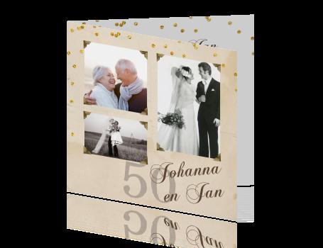 uitnodiging 50 jarig huwelijk Uitnodiging vijftig jarig huwelijk met foto en confetti uitnodiging 50 jarig huwelijk