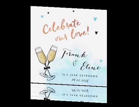 uitnodiging 12,5 jaar getrouwd met champagne