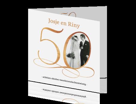 uitnodiging 50 jarig jubileum Sierlijke uitnodiging met foto voor 50 jarig huwelijk uitnodiging 50 jarig jubileum