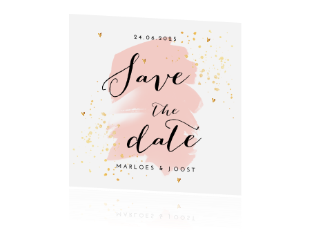 Save the date kaart goudlook hartjes en verfspetters