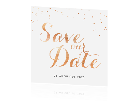 Save the Date kaart met bronskleurige stipjes
