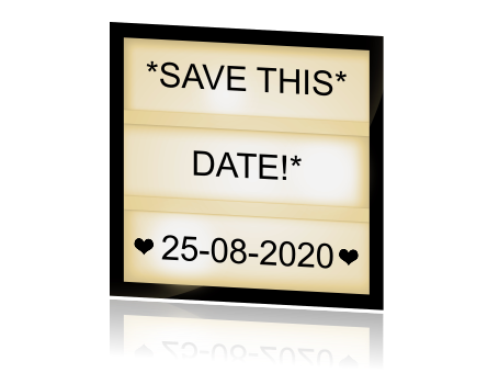 Save the date met lichtbox