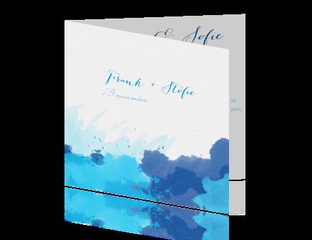 Blauwe aquarel trouwkaart - Grafiek blauw grijze verf ...