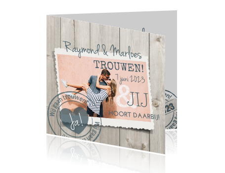 Trouwkaart houtlook stempel foto