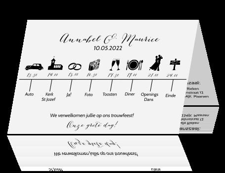 Populair Bijzonder originele trouwkaart met tijdlijn en icoontjes &VX92
