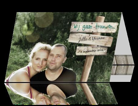 Uitzonderlijk Mooie persoonlijke trouwkaart met wegwijzer @ZH36