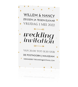 Wedding invitation trouwkaart met gouden stippen