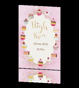 Populair Uitnodiging voor een high tea met verschillende gebakjes #ZH07