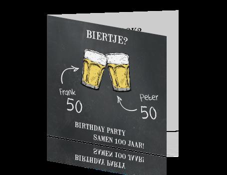 samen 50 jaar uitnodiging Stoere uitnodigingskaart met bier samen 50 jaar uitnodiging
