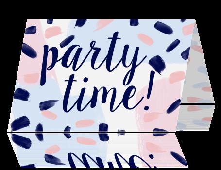 7c133092a0b Hippe uitnodiging feest met pastel kleuren en handlettering