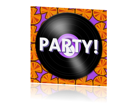 Uitnodiging 80s party met retro design en LP