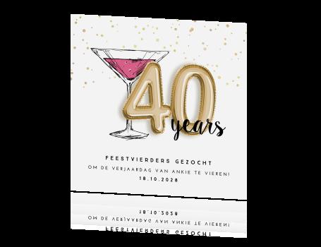 Uitgelezene Uitnodiging 40 jaar verjaardag cocktail confetti KT-86
