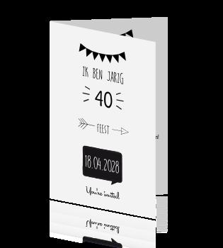 uitnodiging tekst verjaardag 40 jaar Uitnodiging 40 jaar in zwart wit uitnodiging tekst verjaardag 40 jaar