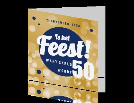 Uitnodig Voor Een 50 Verjaardag Met Goud En Blauwe Bollen