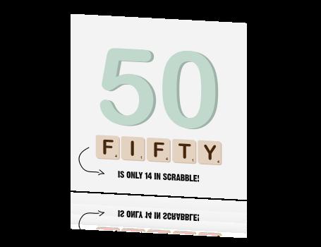 Uitnodiging 50 Jaar Verjaardag Met Scrabble Blokjes