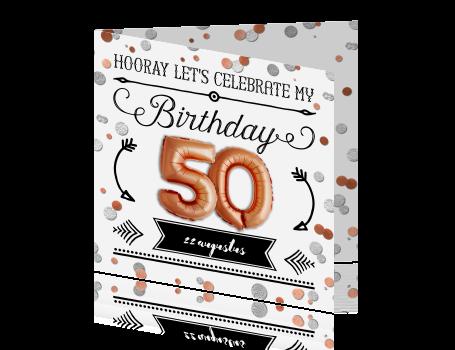 New Uitnodiging 50e verjaardag met koper kleur ballon &VU78