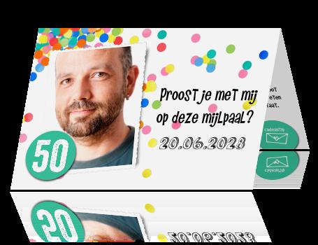 Magnifiek Feestelijke confetti uitnodiging voor een 50e verjaardag #OL44