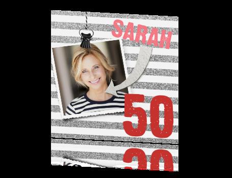 50 Jaar Uitnodiging Met Zilveren Glitter Strepen