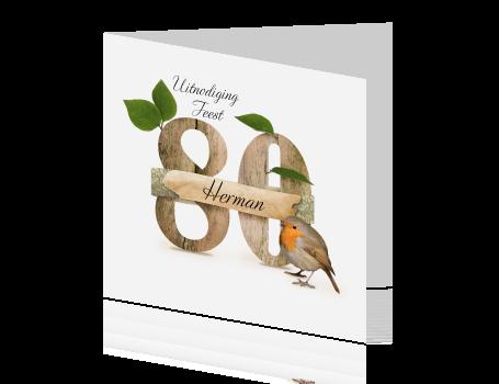 Uitnodiging 80 Jaar Met Houten Letters En Vogeltje