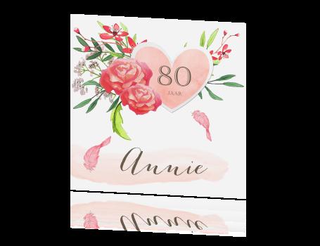 Uitnodiging 80 Jaar Met Aquarel Bloemen