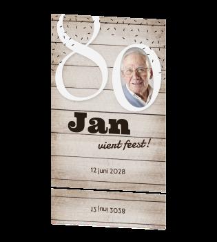 uitnodiging 80 jaar Mooie uitnodiging 80 jaar met hout en foto uitnodiging 80 jaar