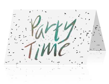 Party time feest uitnodiging met confetti